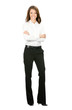 Full body smiling young cheerful business woman, isolated