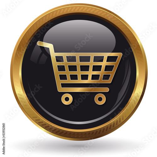 einkaufswagen button gold von arahan lizenzfreies foto 33932861 auf. Black Bedroom Furniture Sets. Home Design Ideas