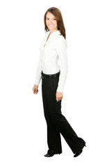 Full body of walking business woman, isolated on white