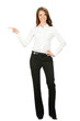 Full body of business woman showing something, isolated