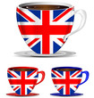 set of Uk coffee cups isolated on white background