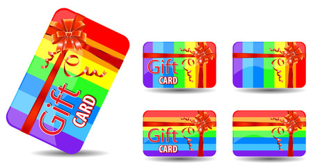 rainbow gift card isolated on white background