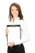 Businesswoman with clipboard, isolated on white background