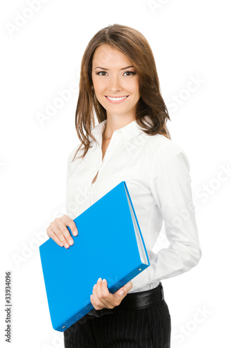 Smiling cheerful businesswoman with blue folder, isolated