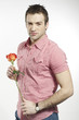 romantic boy holding a rose