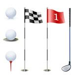 Fototapety set of golf equipment vector