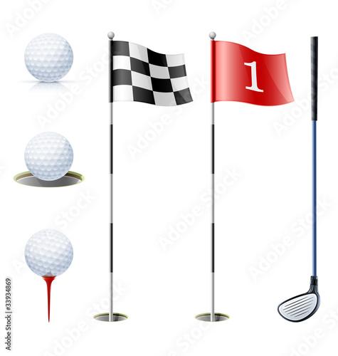Fototapeta set of golf equipment vector
