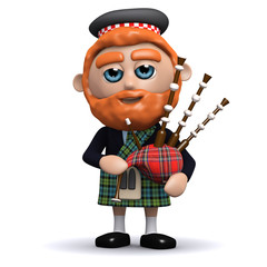 3d Scotsman playing the bagpipes