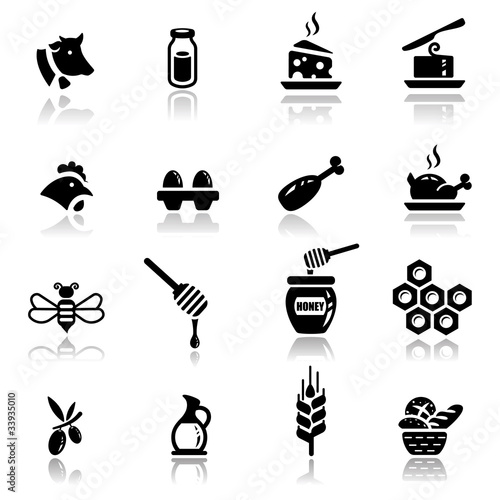 Icons set Dairy and natural products