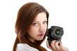 young woman with single-lens reflex camera (white background)