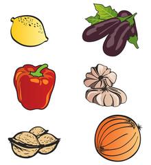 Ensemble d'Icones Fruits et Légumes