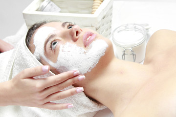Spa Organic Facial Mask Application at Day Spa Salon women