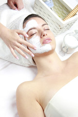 Spa Organic Facial Mask Application at Spa Salon
