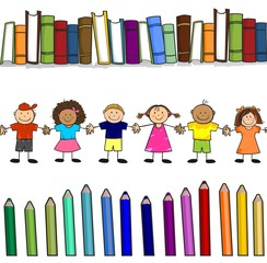 Bimbi libri e colori seamless