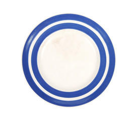 vintage plate with blue rim shot from above, isolated on white