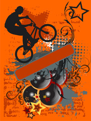 Grunge Bike Jump And Music - grunge vector illustration