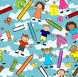 Bambini nuvole fondo azzurro seamless