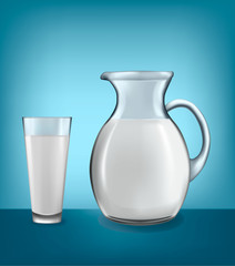 Milk jug and glass of milk. Vector