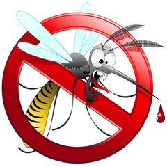 Zanzara Tigre Cartoon Divieto-Mosquito Forbidden-Vector
