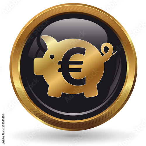 Sparschwein - Button gold