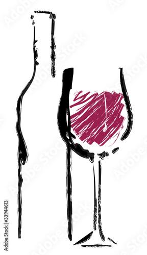 Rotweinglas mit Flasche