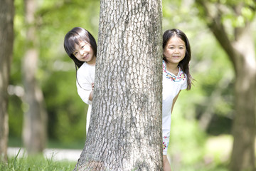 木から顔をだす2人の女の子
