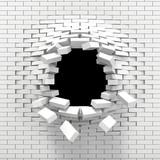 Fototapety Destruction of a white brick wall