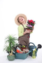 Young girl dressed as a florist