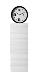 stack of papers documents office business clock time