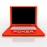 Laptop computer with word poker on it