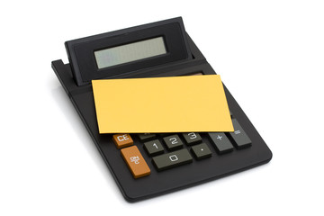 Calculator with yellow note