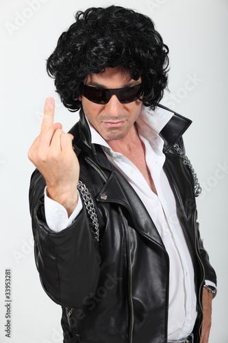 Man dressed as rebel biker