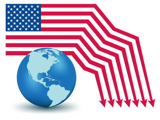 USA Default. Global Financial crisis vector concept