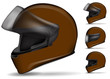 set of brown motorcycle helmet isolated on white