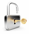 Gold key in the metal lock. Isolated 3D. Security