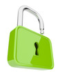 Opened green  lock 3D. Isolated. Security