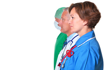 Side view of a Nurse Doctor and Surgeon
