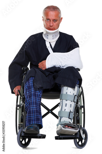 Injured man isolated on white
