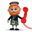 3d Scotsman makes a phone call