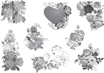 grey rose flowers collection isolated on white