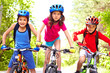 canvas print picture - Children on bikes