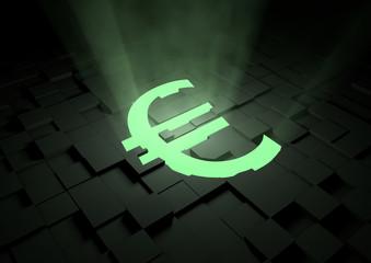 Glowing euro symbol