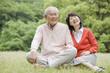 公園の芝生に座って会話をする老夫婦