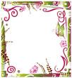 Ranke, Rahmen, flora, Blumen, Blüten, filigran, grün, pink