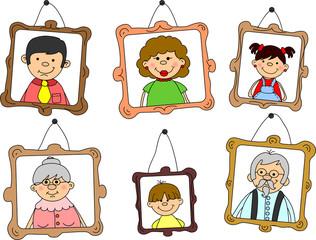 Портреты членов семьи в кадре