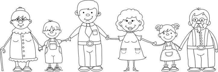 Счастливая семья, держась за руки и улыбается