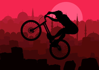 Mountain bike rider in city background