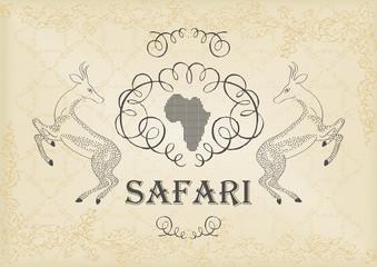 Vintage hand drawn safari coat of arms