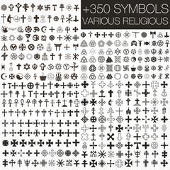 Set +350 symbols vector. various religious