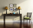 3d Classic,  Buffet console with frames, lights chair